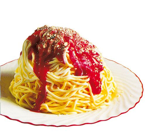 "Spaghetti Ice Cream Exists, Looks Like Heaven Spaghetti Ice Cream is made by pressing vanilla ice cream through a potato ricer to create ""noodles."""