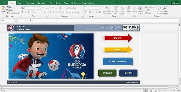 UEFA EURO 2016 – Excel Template: If you are a soccer fan don't miss this excel template! Specially prepared for Euro 2016 including auto-calculations, fixtures, stadiums and many more.(FREE download from someka.net) #euro2016 #excel #template  #spreadsheet #personal #soccer #football #uefa #printable #free