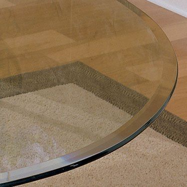 Powell 38 Inch Round Glass Table Top With 3/8 Inch Pencil Edge