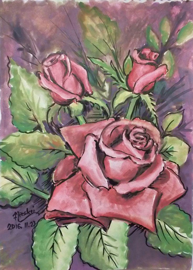 Rózsák- -akvarell- -24x17 cm