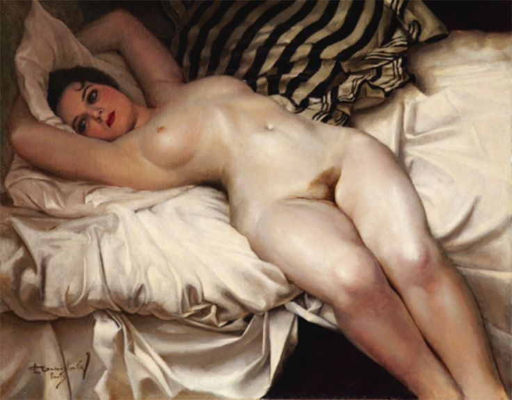 Reclining female nude painting