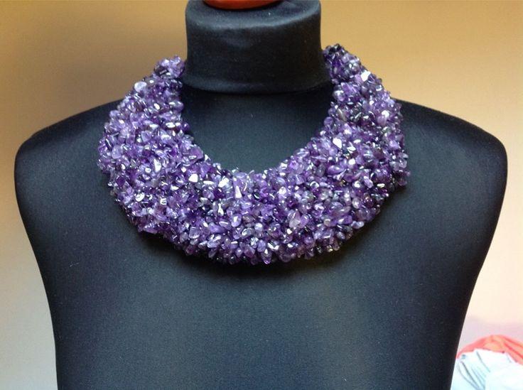 Unique Style Purple Amethyst Necklace                   Handmade
