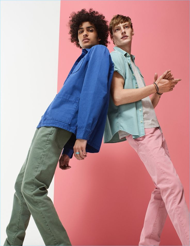 Left: Trè Samuels wears a blue shirt jacket and green jeans from Gap. Right: Roberto Sipos rocks a Gap short-sleeve oxford shirt and soft pink jeans.