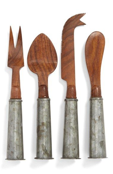 Free shipping and returns on Thirstystone Wood & Galvanized Iron Cheese Knives (Set of 4) at Nordstrom.com. Perfect for serving a variety of soft and hard cheeses, these four assorted knives are crafted with rich sheesham-wood blades and fitted with galvanized iron handles for a distinctive, industrial-chic aesthetic.