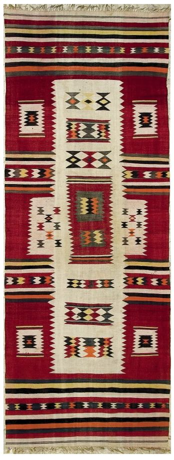 """Africa   Flat weave """"Dokkali Tidikelt"""" from the El Goléa region, south-west Algeria   Wool   1st quarter 20th century    Would have been used as a saddle cover or occasionally served as a ground cover."""