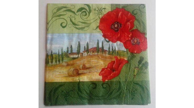 Toscan táj pipaccsal papírszalvéta - KreatívHobbyDekor webáruház