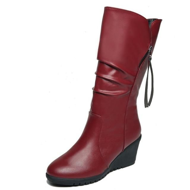 0827ef2db4 COOTELILI Female Winter Boots Women Leather Motorcycle High Boots ...