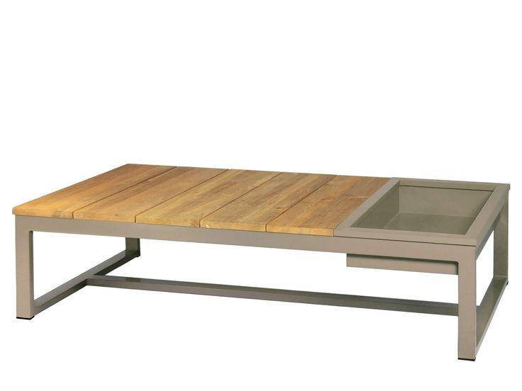 Mesa de centro retangular de alumínio e madeira para jardim com balde de gelo MONO   Mesa de centro com balde de gelo - MAMAGREEN