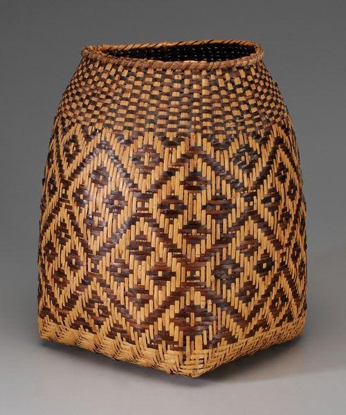 Cherokee River Cane Storage Basket, mid 20th century