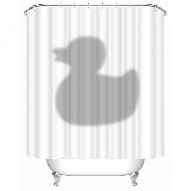 Venta caliente 3D Impermeable de Poliéster Cortina de Ducha Cortinas de Sombra Patrón de Pato Con 12 Ganchos De Plástico Para Baño Y Ducha-OE
