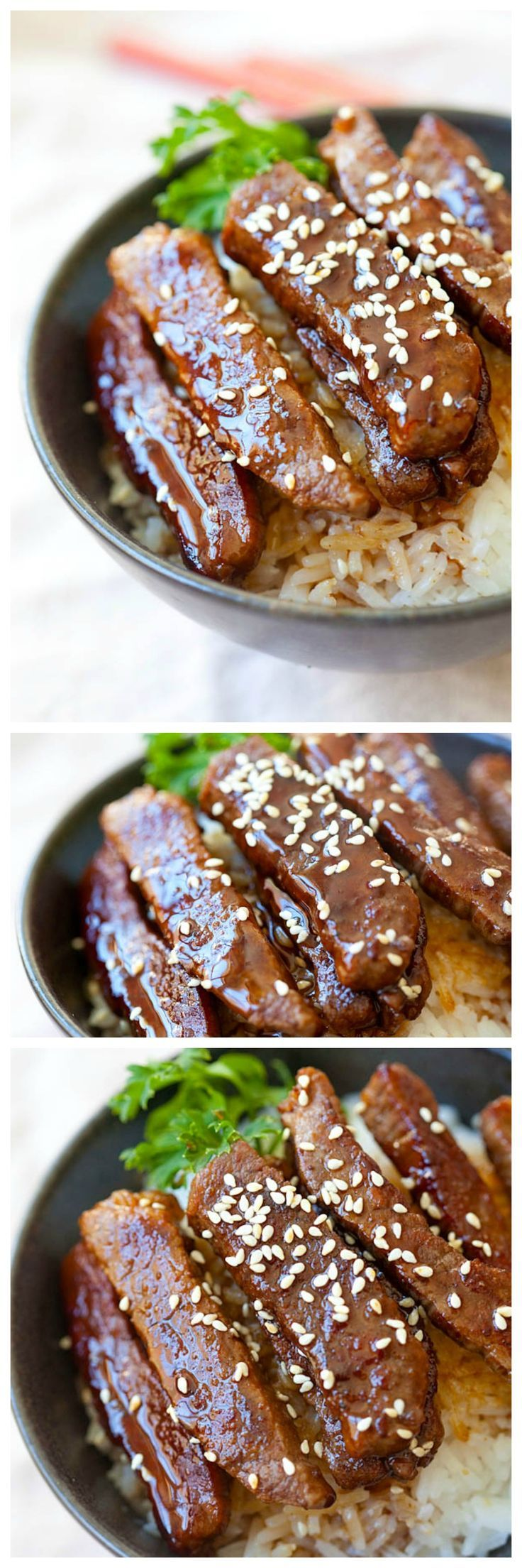 The best and easiest beef teriyaki recipe that takes 15 mins to make. You can make the beef teriyaki with your favorite cut of beef and homemade teriyaki sauce | rasamalaysia.com
