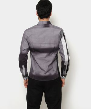 Camisa con Estampado de franjas Gris oscuro