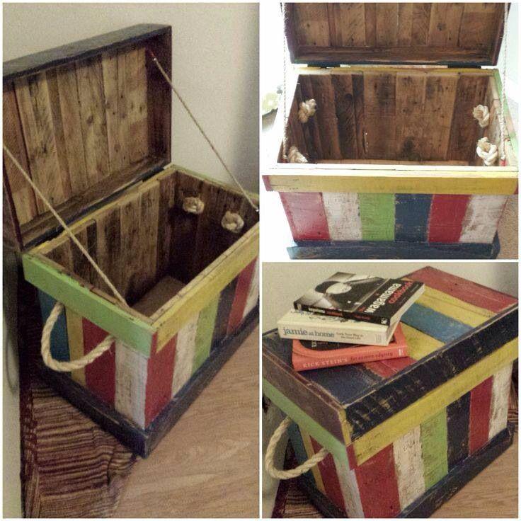 old pallet toy box diy storage grayson pinterest. Black Bedroom Furniture Sets. Home Design Ideas