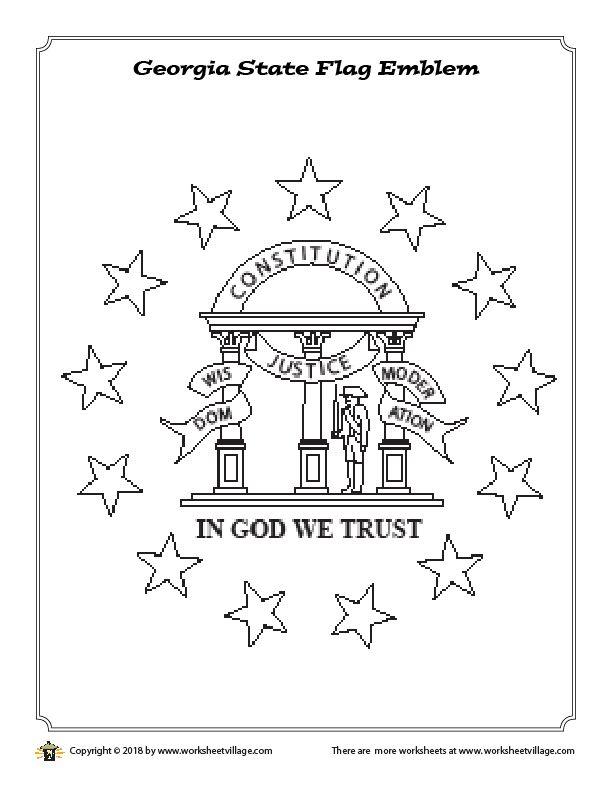 Georgia State Flag Emblem Coloring Page Worksheet Village