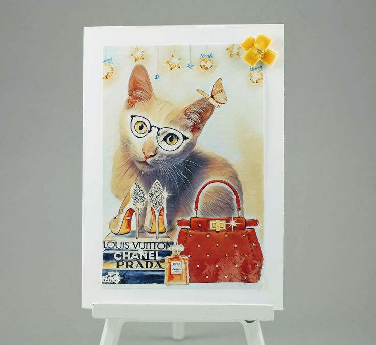 cat with gifts on a greeting card unique birthday thank