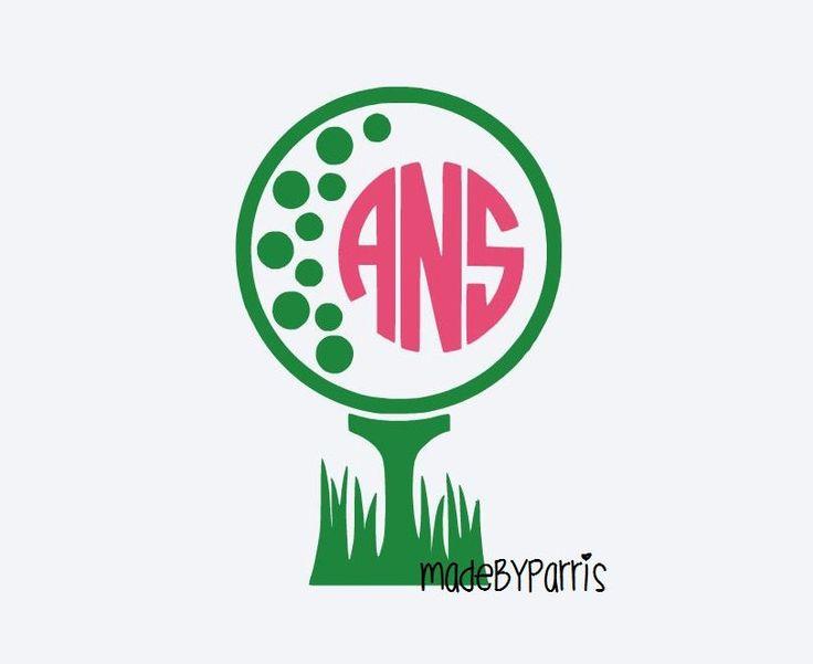 Golf Ball Monogram Vinyl Decal Golfing Decal Monogram