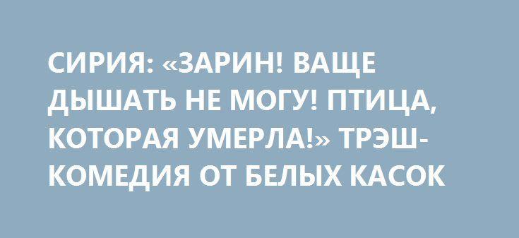 СИРИЯ: «ЗАРИН! ВАЩЕ ДЫШАТЬ НЕ МОГУ! ПТИЦА, КОТОРАЯ УМЕРЛА!» ТРЭШ-КОМЕДИЯ ОТ БЕЛЫХ КАСОК http://rusdozor.ru/2017/07/04/siriya-zarin-vashhe-dyshat-ne-mogu-ptica-kotoraya-umerla-tresh-komediya-ot-belyx-kasok/  На просторах интернет выложили видео, места где якобы был нанесен удар в Сирии с применением химического оружия. «Зарин! Зарин! Вообще дышать не могу! А это Белые каски! А это птица, которая умерла»: После такого кино невозможно не бомбить Асада По ...