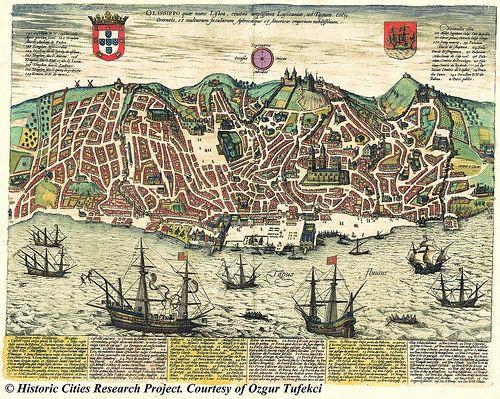 Ancient map Lisbon