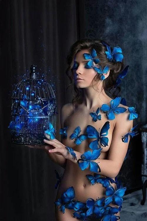 Blue Butterflies on nude