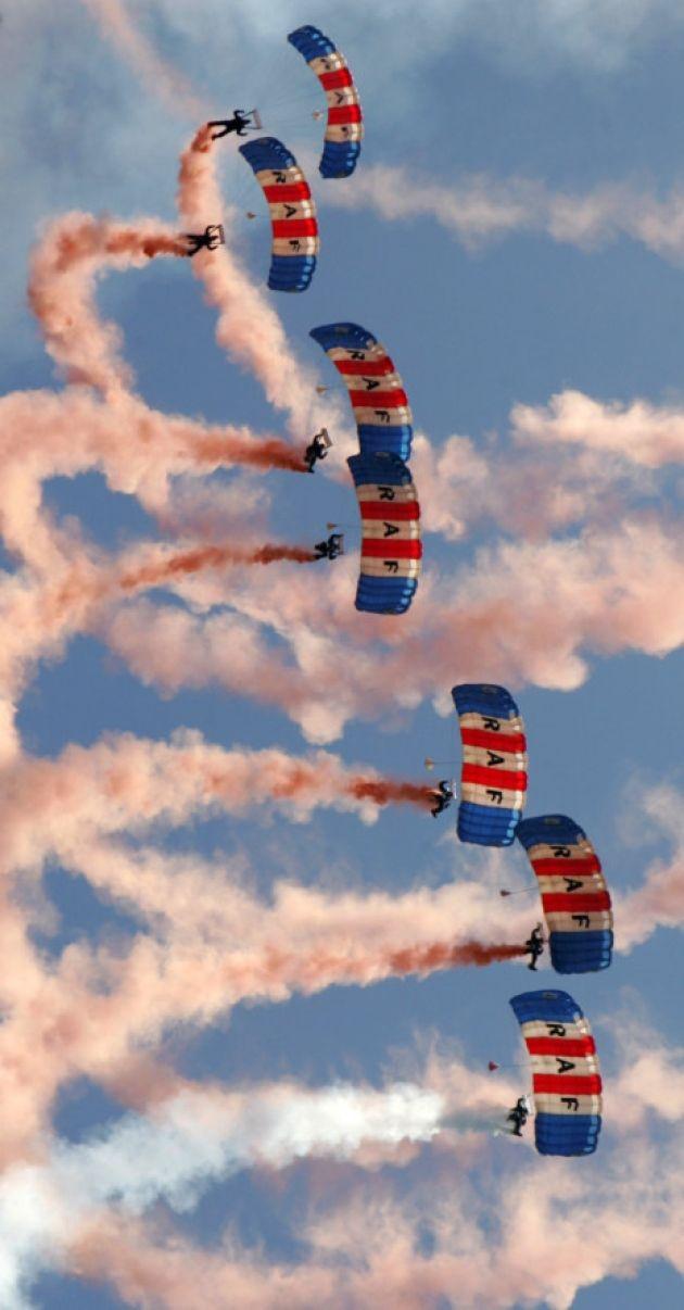 RAF Falcons Parachute Display Team at the Bournemouth Air Festival, England