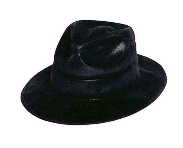 Unique Adult Black Felt Covered Plastic Gangster Fedora Hat 1920's Costume Dress Up