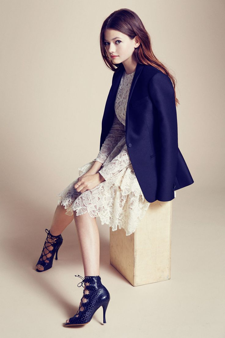 Mackenzie Foy W Valentino dress and blazer, Tabitha Simmons booties,
