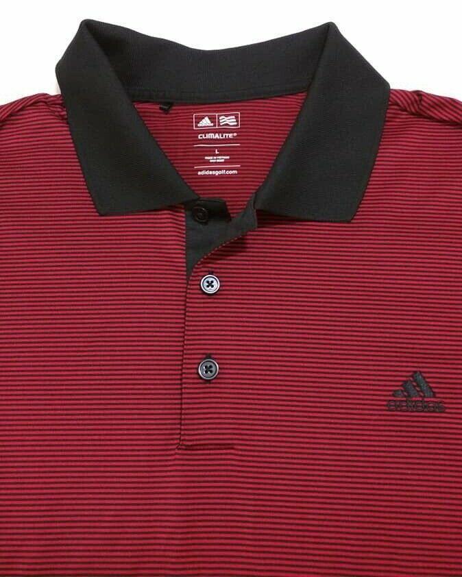 94362eb4 Adidas Climalite Golf Red Polo Shirt Black Stripes Collar Stretch Mens  Large #adidas #ActivewearShortSleeve