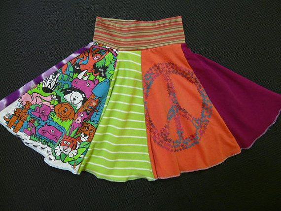 Peace and jungle animals upcycled Twirly Skirt from Twinkle size 5 6 7 recycled t-shirt dressT Shirts Dresses, Clothing Redesign, Creative Side, Kids Clothing, Twinkle Size, Recycle T Shirts, Shirts Sewing, Jungles Animal, Animal Upcycling