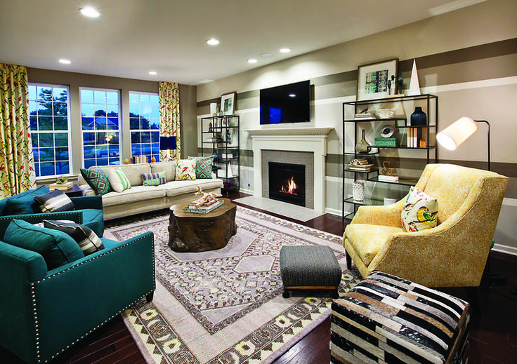 Create a family game night in this colorful family room from Bowes Creek Country Club, Fairways Collection, in Illinois.