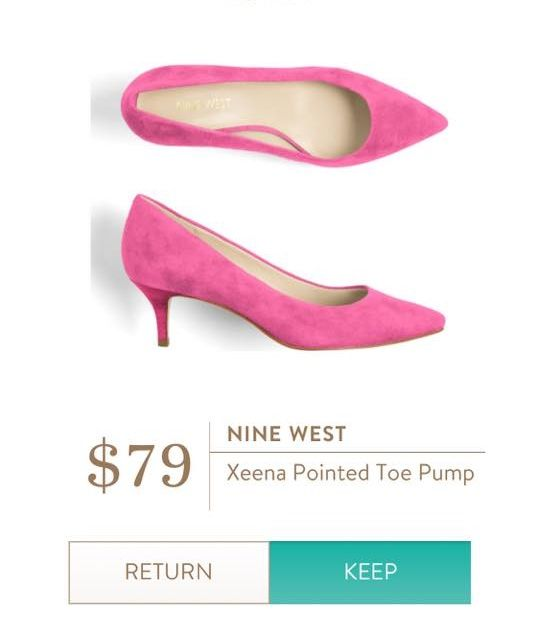 Xeena pointed toe pump from Nine West. Fun, but still look like a nice height.