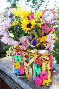 DIY Teacher gift - letter or number vases with flowers handmade gifts for teachers