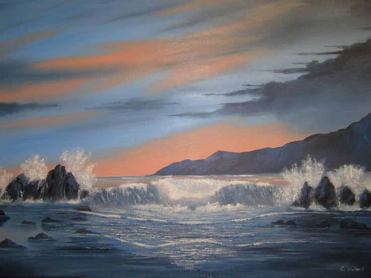 Evening Waves seascape oil painting  by       c walters