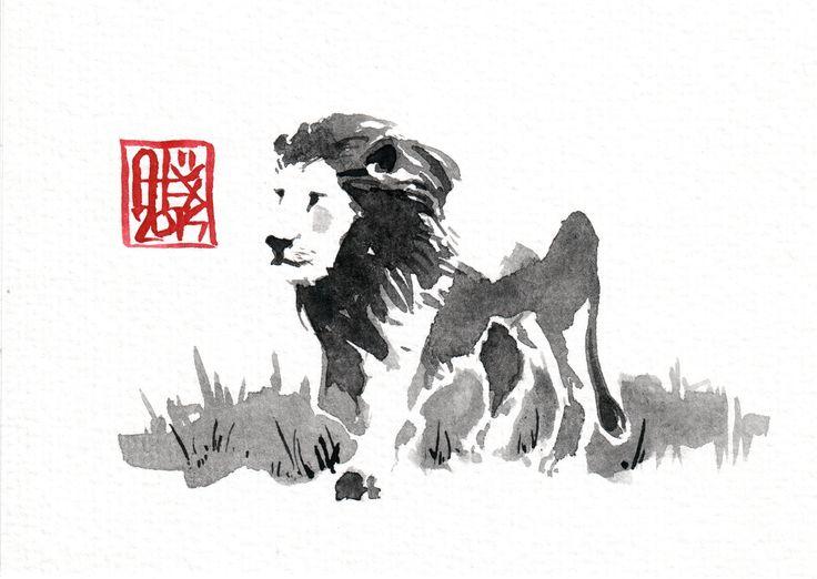 #Lion : Aquarelle sur papier 250gr / Watercolor on paper 250gr 10.5 x 15 cm / 4.13x 5.9 in