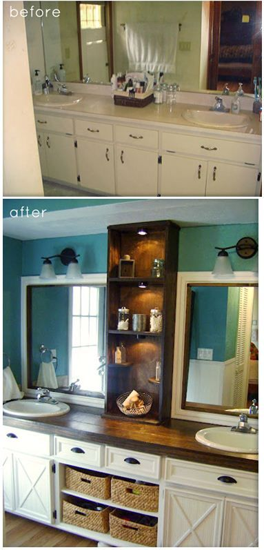 Bath redo on a budget. I love the peacock blue color with the cream cabinets and dark counter top: