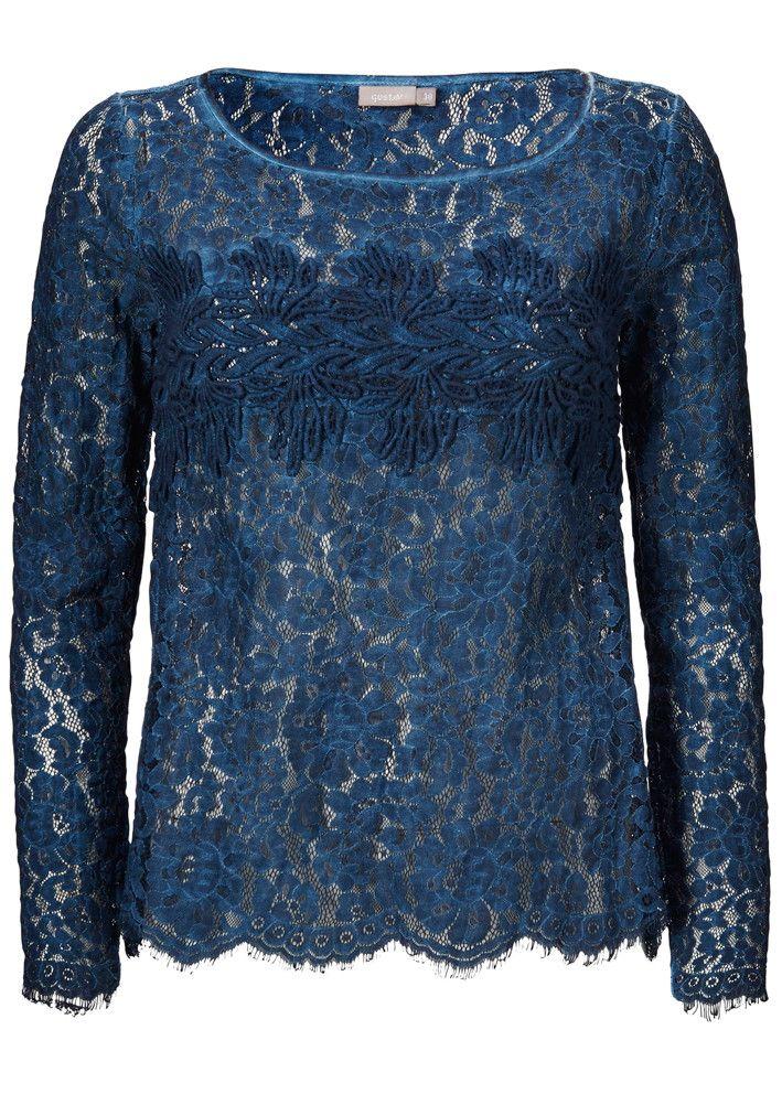 Gustav Lace Shirt 16604 Blue Graph - Blondebluse mørkeblå – acorns
