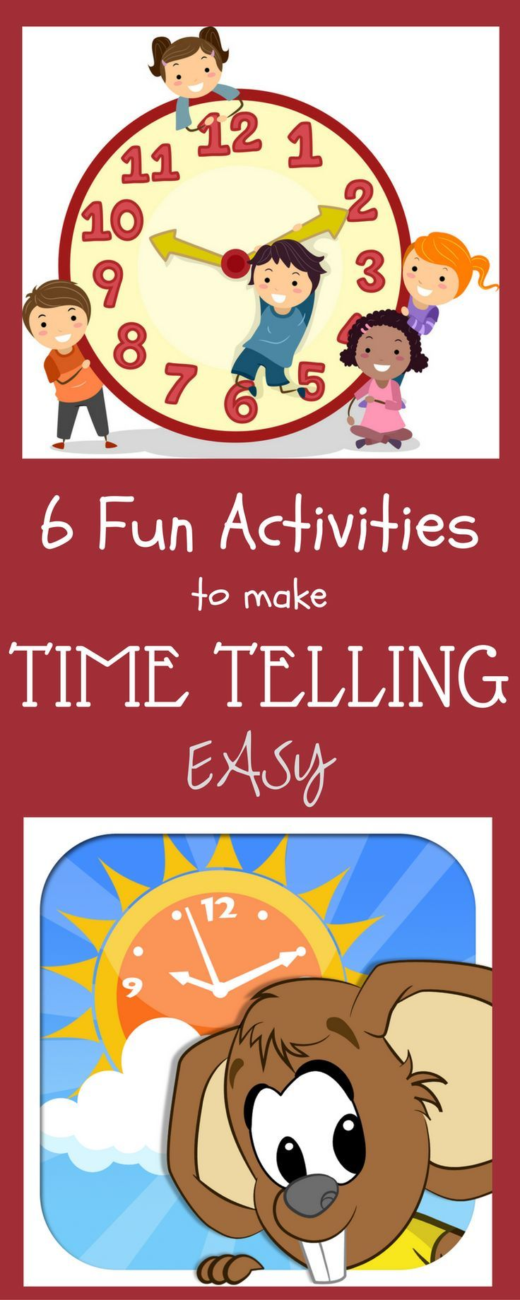 6 EasyTelling Time Activities for First Grade kids. Also for 2nd and 3rd grade kids. Teach telling time to the minutes and to the hour. Free DIY Clock printable included in this pack of 6 telling time activities for kindergarten kids. Telling Time math Games for classrooms and homeschools. Fun Telling time craft ideas included too. Pin it to your telling tie activities board.