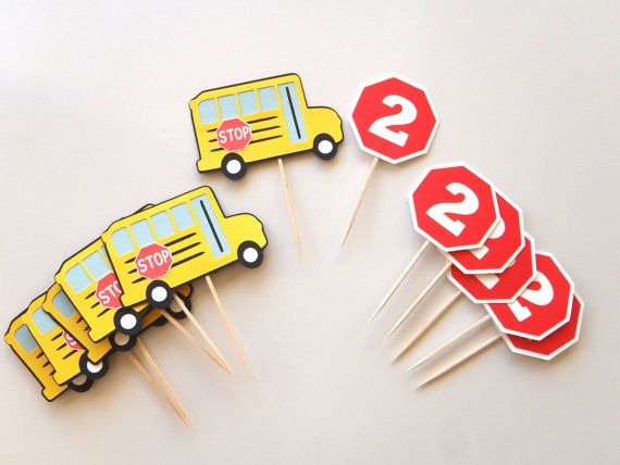 School Bus Party Cupcake Toppers  Wheels on the Bus Birthday