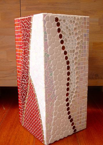 Tall red brown and white flower pot, with cut glass mosaic and ceramic tiles