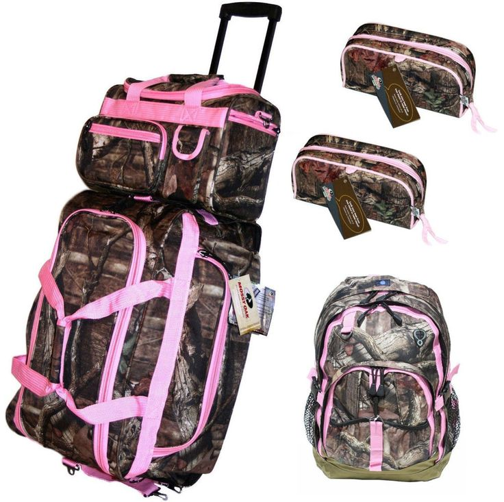 5 pc Pink Mossy Oak Camo Luggage Set Rolling Duffle Carry ON Bag Make up bags in Luggage | eBay