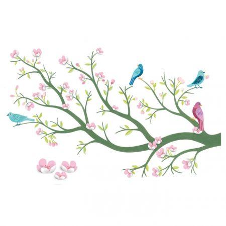 Djeco muursticker tak met vogels en bloemen 3D