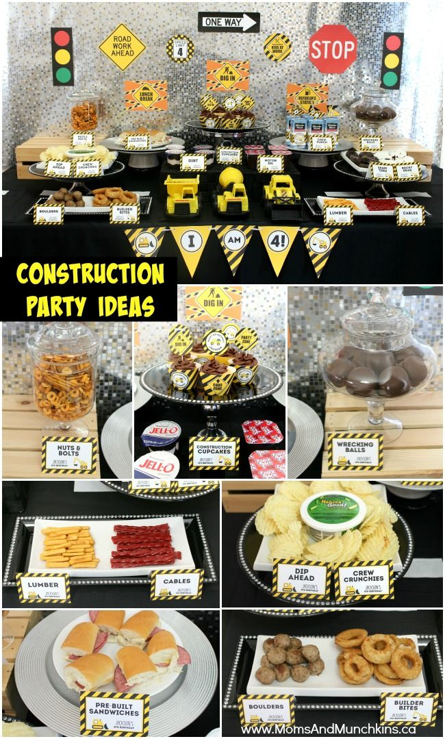 Construction Birthday Party Ideas - adorable birthday party ideas with a complete set of construction party printables that makes planning this theme super easy! Lots of cute ideas for construction party food.