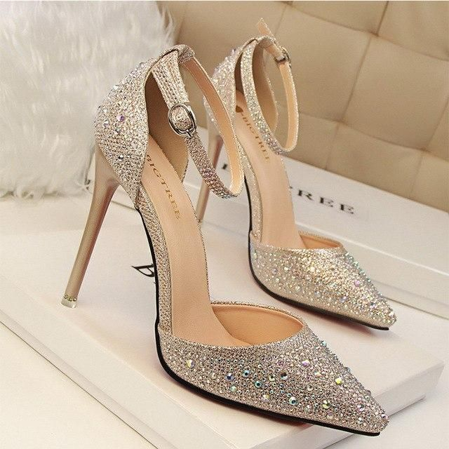 87648a2c5950 DAGNINO Women Pumps Sexy High Heels Shoes Woman Silver Rhinestone Wedding  Shoes Ladies Party Summer Sequins
