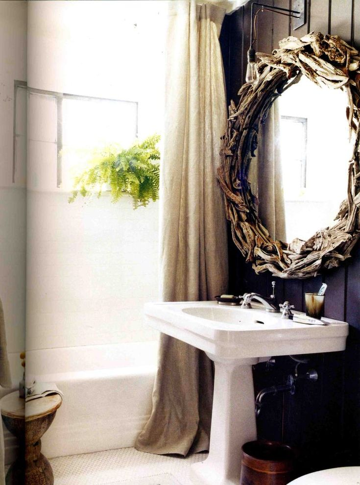 Love The Oversized Driftwood Mirror In This Bathroom High Gloss Black Colour Paneling Is Great Too As Well Luxurious Linen Shower Curtain Notice