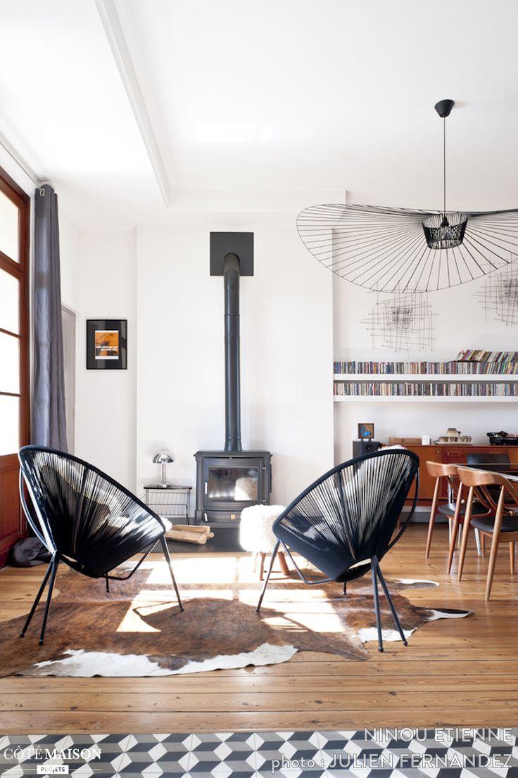 Les 25 meilleures id es de la cat gorie sol sombre sur pinterest planchers - Deco salon avec poele ...