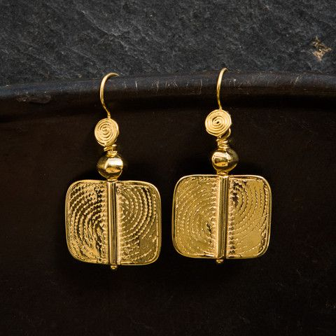 Geometric Gold Vermeil Earrings – Beyond Biasa