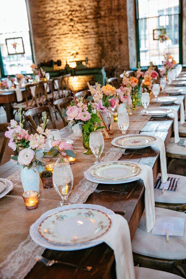 vintage-inspired wedding reception, photo by Tory Williams http://ruffledblog.com/georgia-railroad-museum-wedding #weddingreception #tablescapes