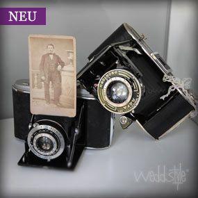 ♥♥♥ Vintage Hochzeitsdeko: Alte Kameras aus den 1900-1920 er Jahren. http://weddstyle.de/vintage-hochzeit-alte-kameras.html