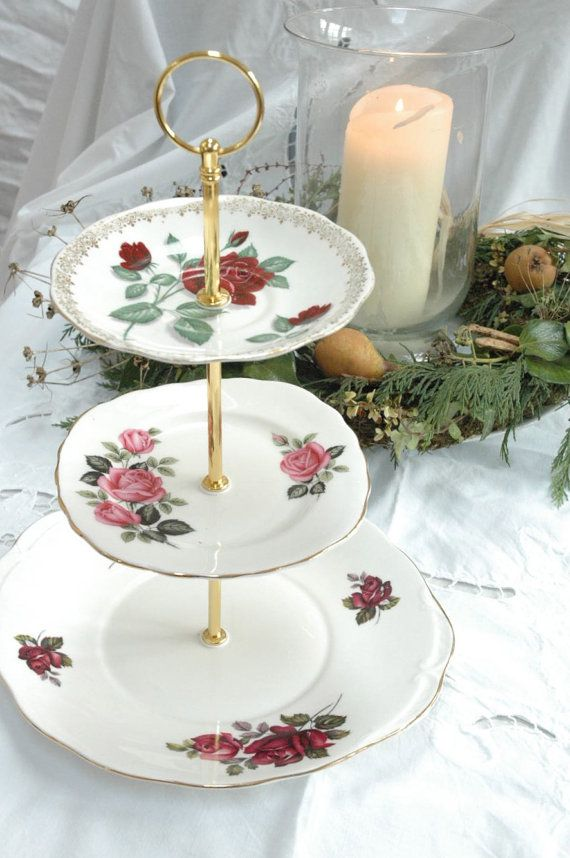 Red and pink rose 3 tier English china cake stand & 103 best Collectibles Extras images on Pinterest | Royal albert ...