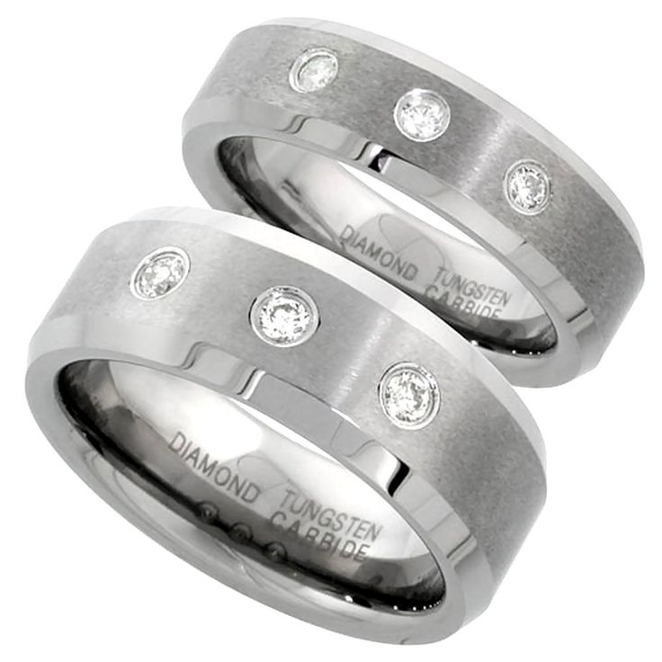 Nice  and mm Tungsten Diamond Wedding Ring Set for Him and Her