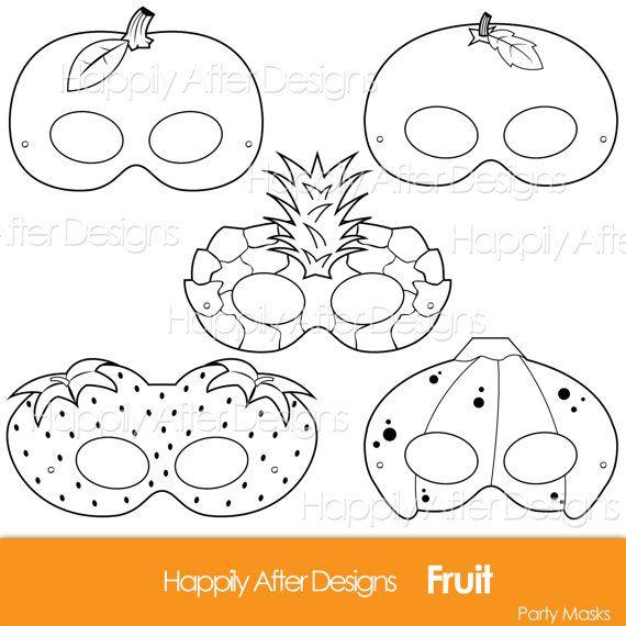 Fruits Printable Coloring Masks, strawberry mask, banana mask, orange, apple, pineapple, fruit costume mask, fruits, apple costume, oranges